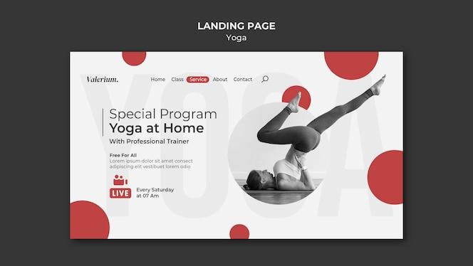 Modelo de página de destino para aula de ioga com instrutora