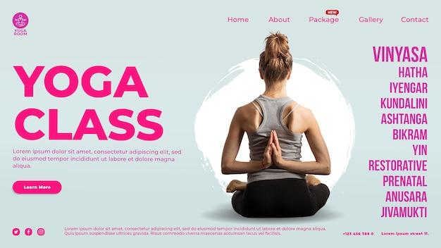 Modelo de página de destino para aula de ioga com mulher