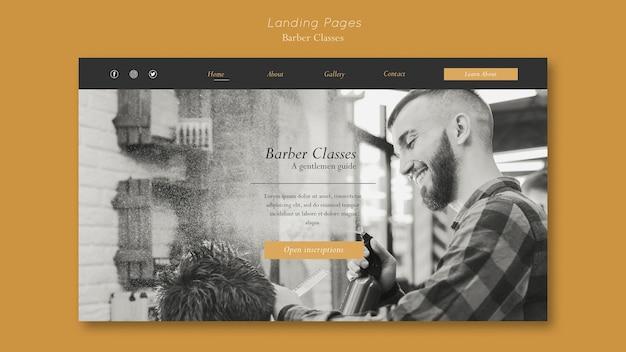 Modelo de página de destino para aulas de barbeiro