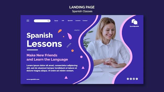 Modelo de página de destino para aulas de espanhol