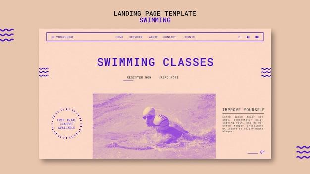 Modelo de página de destino para aulas de natação