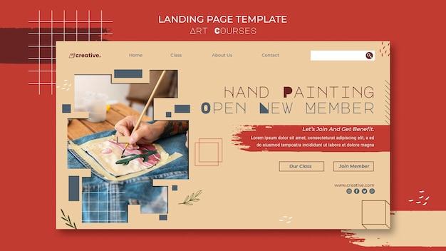 Modelo de página de destino para aulas de pintura