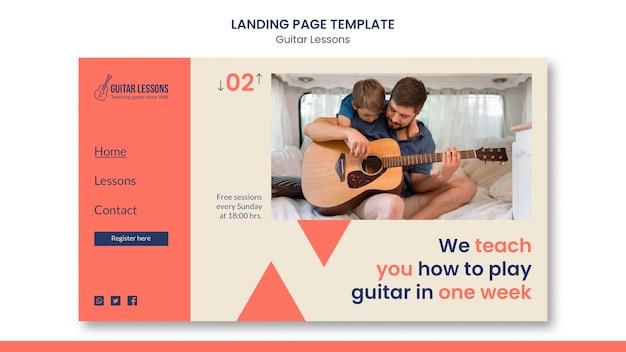 Modelo de página de destino para aulas de violão