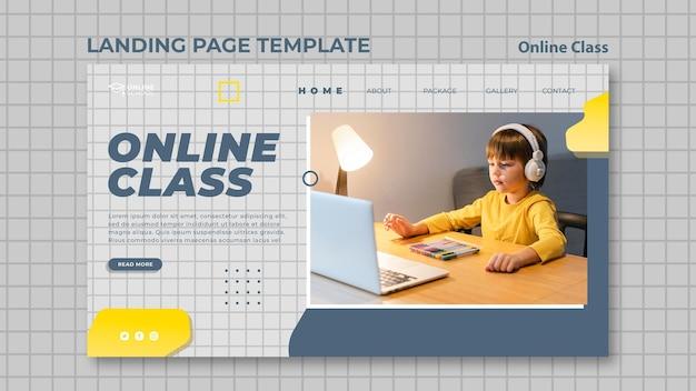 Modelo de página de destino para aulas online com crianças