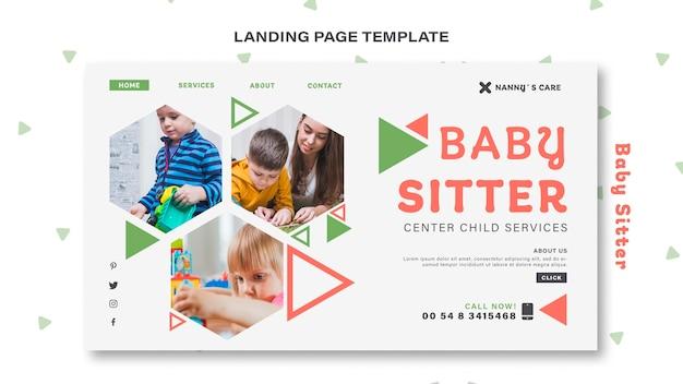 Modelo de página de destino para babá com criança