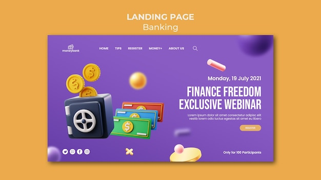 Modelo de página de destino para bancos e finanças online