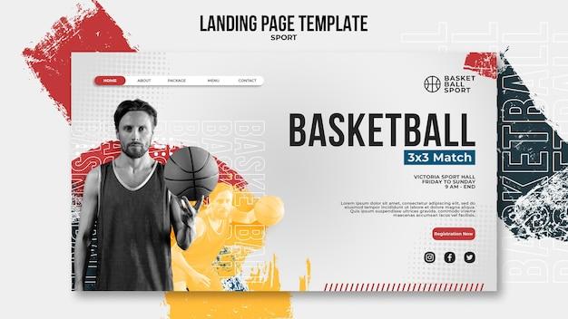Modelo de página de destino para basquete com jogador masculino