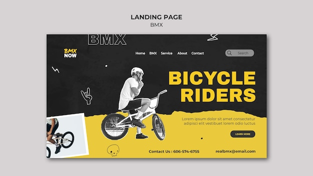 Modelo de página de destino para bicicleta bmx com homem e bicicleta