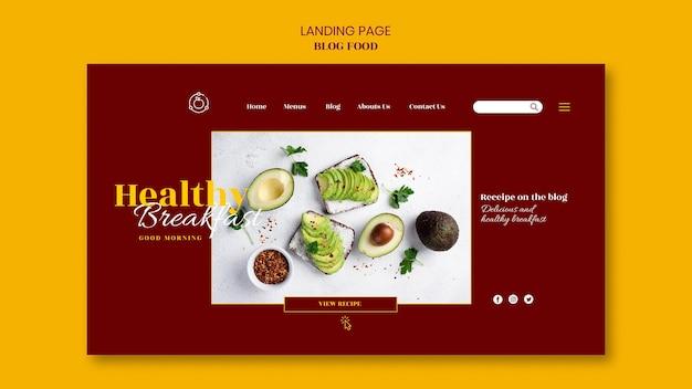 Modelo de página de destino para blog de receitas de comida saudável