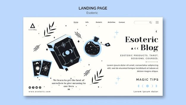Modelo de página de destino para blog esotérico