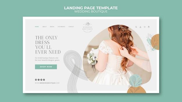 Modelo de página de destino para boutique de casamento elegante