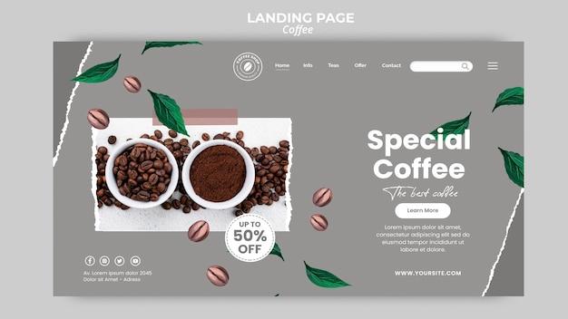Modelo de página de destino para café