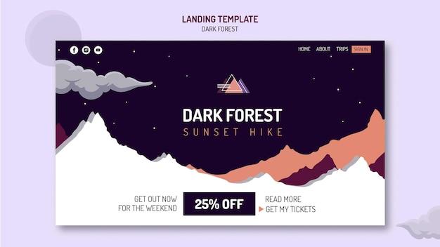 Modelo de página de destino para caminhada em floresta escura
