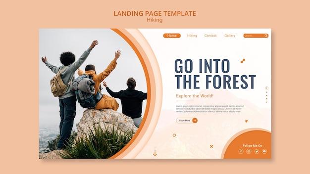 Modelo de página de destino para caminhadas na natureza