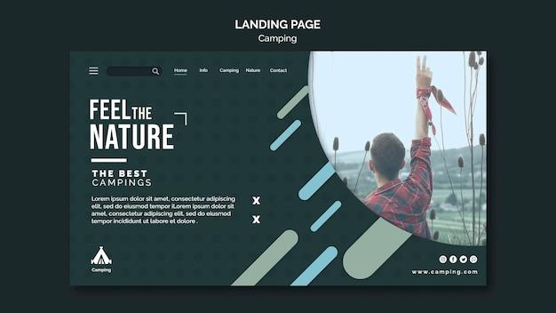 Modelo de página de destino para camping