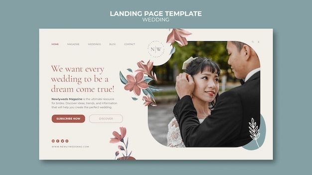 Modelo de página de destino para casamento floral
