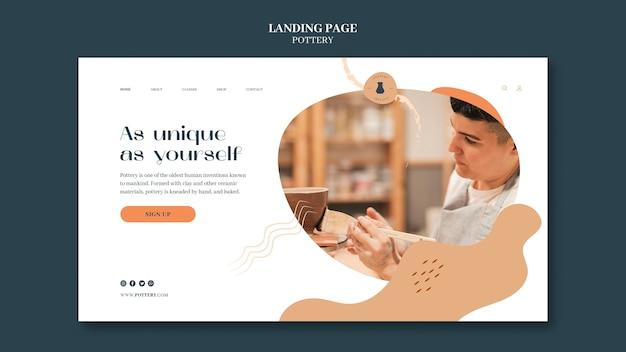 Modelo de página de destino para cerâmica com vasos de argila