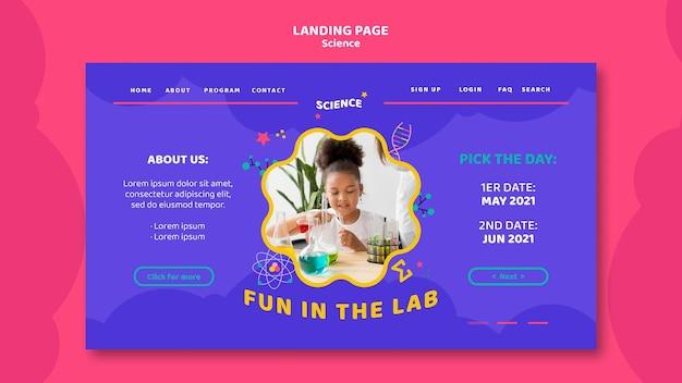 Modelo de página de destino para ciência infantil