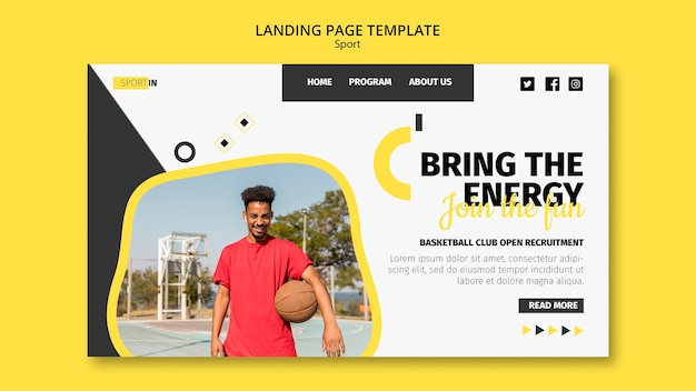 Modelo de página de destino para clube de basquete