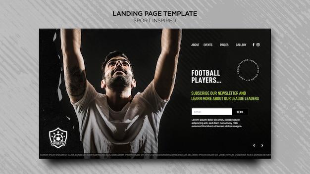 Modelo de página de destino para clube de futebol