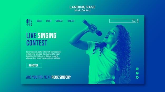 Modelo de página de destino para concurso de música ao vivo com artista