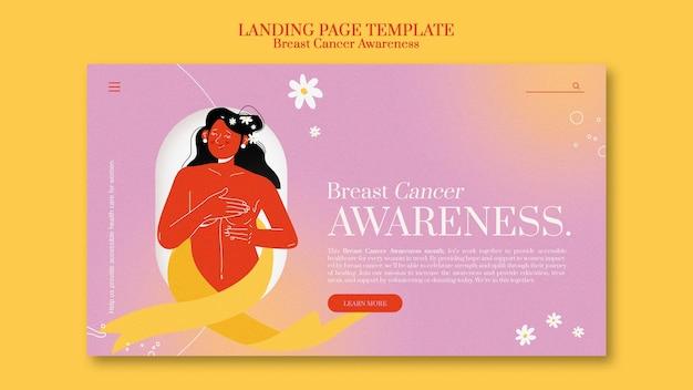 Modelo de página de destino para conscientização do câncer de mama