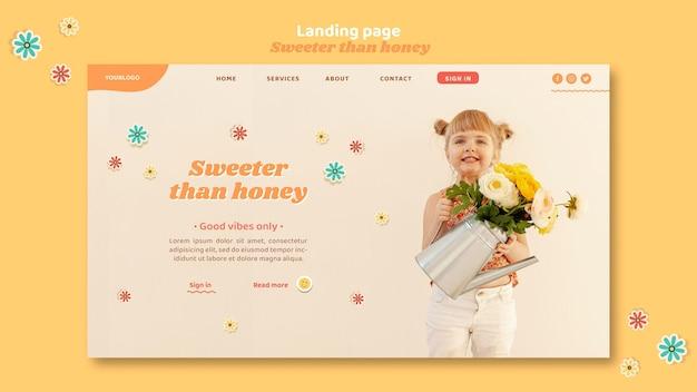 Modelo de página de destino para crianças com flores