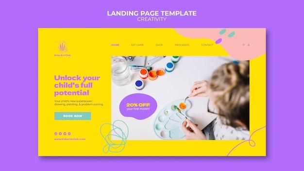 Modelo de página de destino para crianças criativas