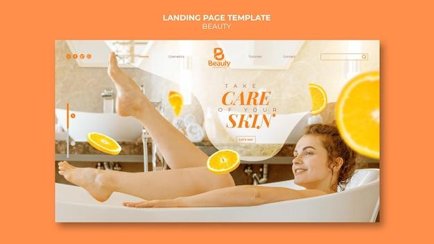 Modelo de página de destino para cuidados com a pele de spa em casa com fatias de mulher e laranja Psd grátis