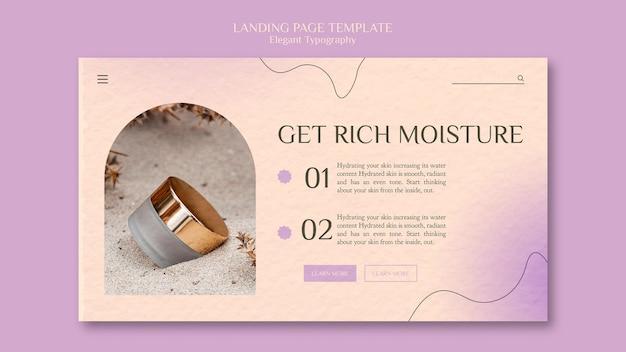 Modelo de página de destino para cuidados com a pele