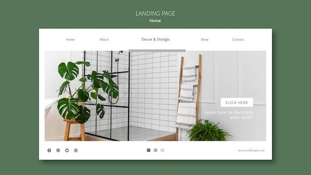 Modelo de página de destino para decoração e design de casa
