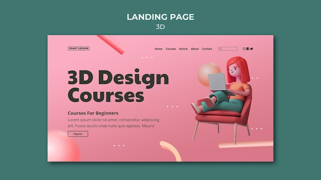 Modelo de página de destino para design 3d com mulher