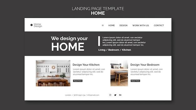 Modelo de página de destino para design de interiores de casas com móveis