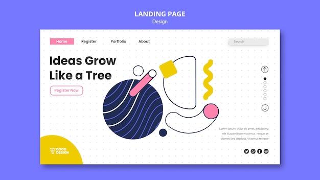 Modelo de página de destino para design gráfico