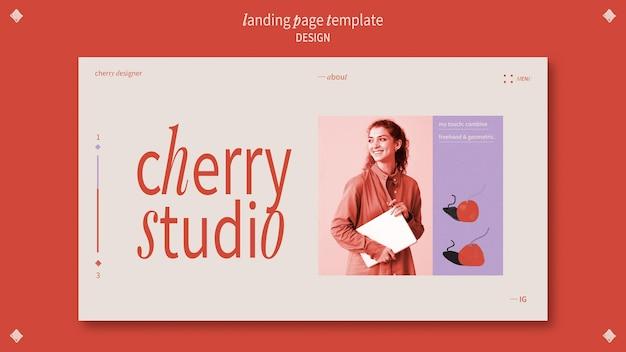 Modelo de página de destino para designer gráfico