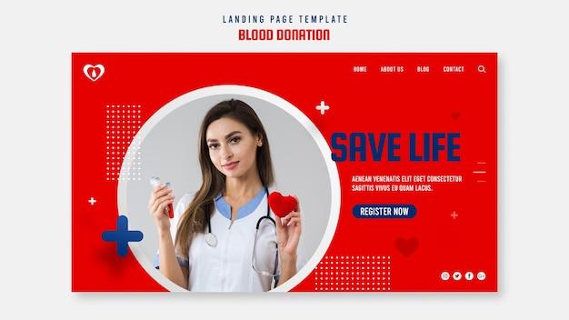 Modelo de página de destino para doação de sangue
