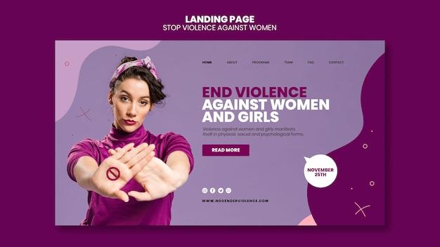 Modelo de página de destino para eliminação da violência contra mulheres