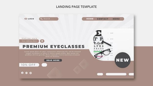 Modelo de página de destino para empresa de óculos
