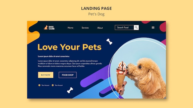 Modelo de página de destino para empresa de pet shop