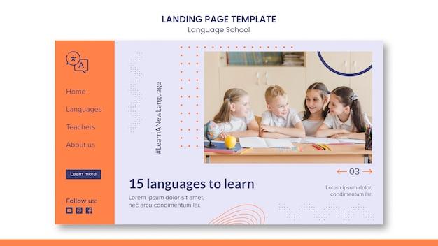 Modelo de página de destino para escola de idiomas