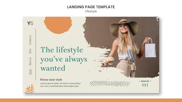 Modelo de página de destino para estilo de vida pessoal