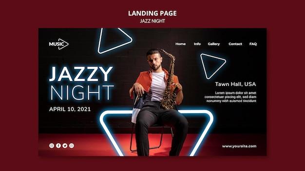 Modelo de página de destino para evento noturno de jazz neon Psd Premium