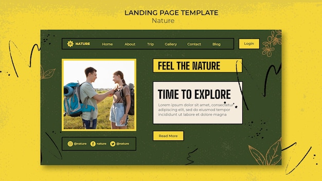 Modelo de página de destino para explorar a natureza