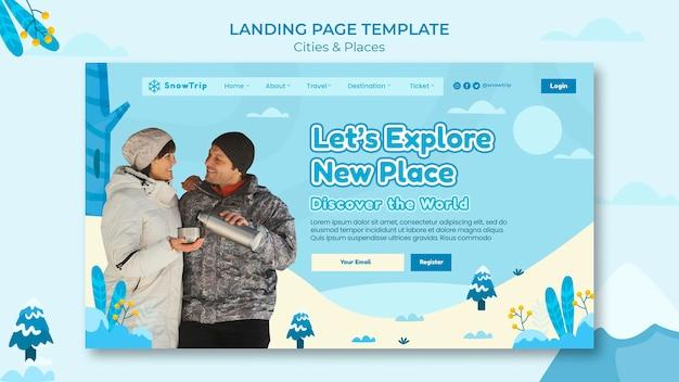 Modelo de página de destino para explorar novos lugares