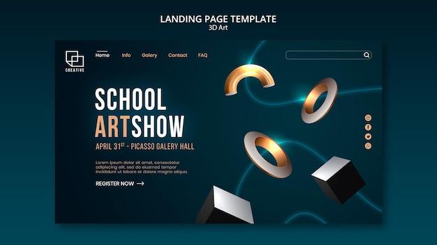 Modelo de página de destino para exposição de arte com formas tridimensionais criativas