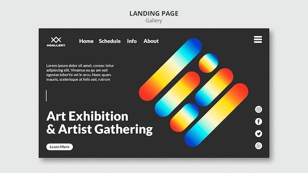 Modelo de página de destino para exposição de arte moderna