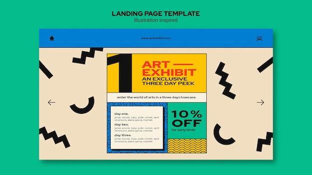 Modelo de página de destino para exposição de arte