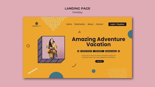 Modelo de página de destino para férias com mochileiras