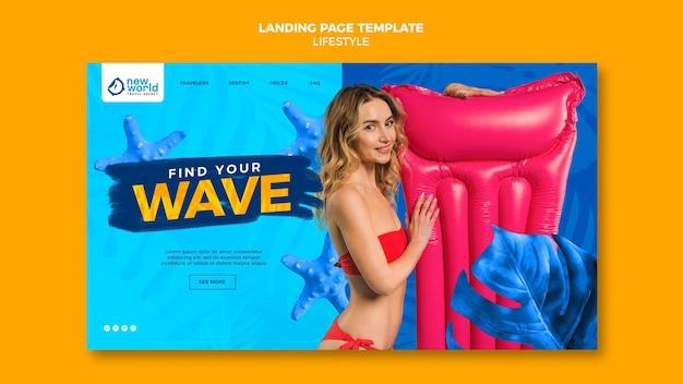 Modelo de página de destino para férias de verão na praia