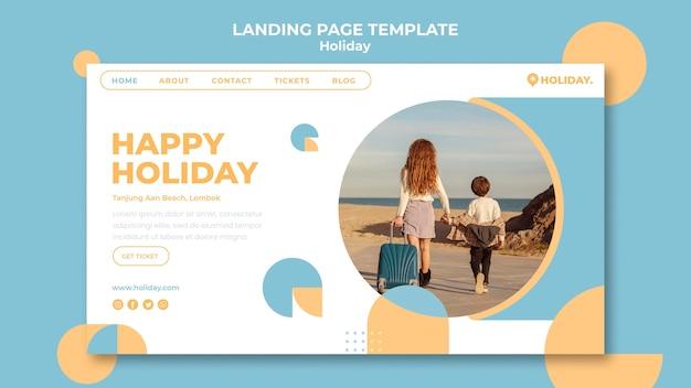 Modelo de página de destino para férias de verão